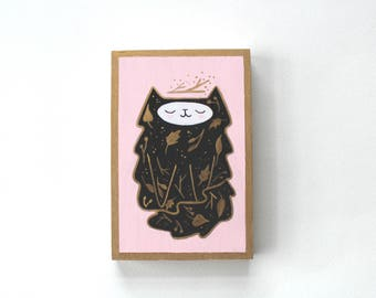 Wood Block Painting - Whimsical Kitty