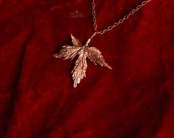 Leaf metal pendant Copper jewelry Autumn style Nature gift for her Fall fashion Small pendant