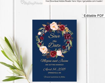 Save the Date Template, Navy Floral Wedding Save the Date, Save the Date Printable, #A033, Instant Download, Editable PDF