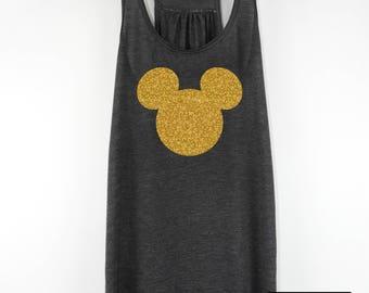 Mickey Tank Top, Mickey Head Tank, Glitter Mickey Mouse Tank, Gold Glitter Tank, Disney Vacation Tank, Mickey Mouse Head Tank Top