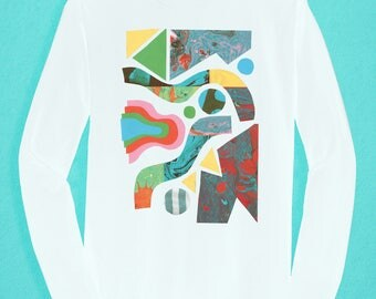 Long Sleeved white T-shirt - Marbling Pattern