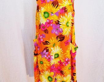 60's Orange Aloha Dress. Hawaiian Print. Floral. Mumu. Midi dress. Sleeveless. Size Large