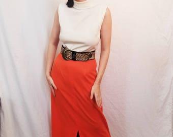 70's Cream Orange Maxi Dress. Mock Neck. Sleeveless. Polyester. Leopard print belt. Size Medium