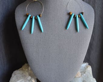 Tigers Eye & Turquoise Magnesite spiked hoops