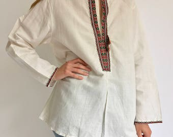 Vintage Colorful Embroider White Cotton Tunic Shirt | Ethnic Folk Embroider Shirt | Ribbon Embroider Shirt | Hungarian Embroider Shirt