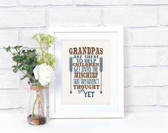 Grandpa Gift - Grandpa Printed Artwork -  Grandpa Art -  - Grandpa Print - Gift for Grandpa - Grandparent Day - Grandpa Giclée Print