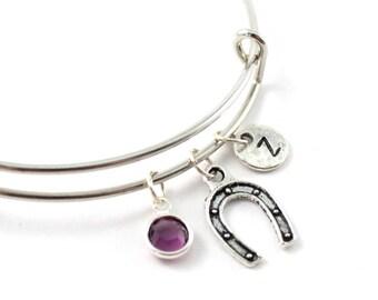 HORSESHOE charm bangle, lucky charm, personalized bangle, initial bangle, initial hand stamped, birthstone bracelet, personalized, gift