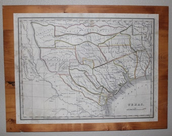 Texas Antique Map - Wall Decor - Texas Strong - Historical Print - Reproduction - Reclaimed Wood - Study - Office - Gift for Him - Man Cave
