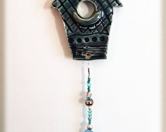 Teal Stoneware Clay Birdhouse Wall Hanging