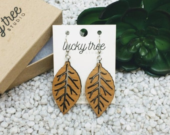 Leaf Earrings, Laser Cut Wood, Eco Friendly Bamboo Earrings