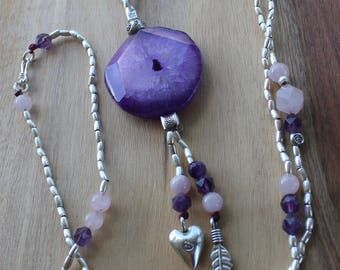 Peace Love & Protection Necklace- Karen Hill Tribe Silver - Amethyst - Rose Quartz - Agate