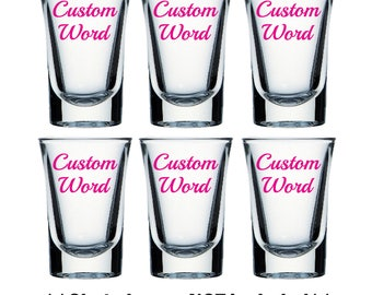 Pack of 6 decal stickers for shot glasses - Words or Symbols - Party, Hen do, Stag do, Wedding favours, Birthday, Christmas - Decals only!