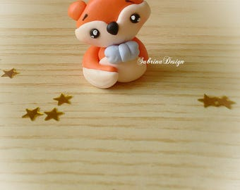 Fox favor, polymer clay favors, baptism favors, baby shower favors, woodland animals, birthday party, little prince party