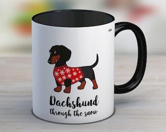 Secret santa gift, dachshund mug, funny christmas mug, dachshund lover gift, ceramic mug, tea cup, cute mug, dog lover, stocking filler