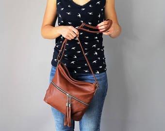 Cognac Leather Shoulder Bag, Small Crossbody Leather Bag, Brown Leather Purse, Crossbody Purse,  Fringe Bag, Leather Bag,Festival Bag
