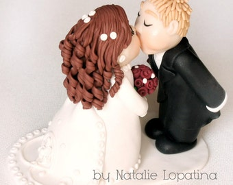 Wedding Cake Topper Personalized figurines bride and groom Cute couple Handmade