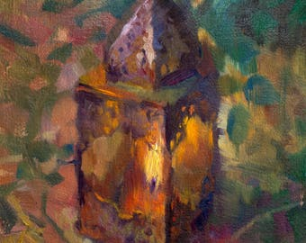 Lantern - original oil painting, alla prima oil painting, one of a kind