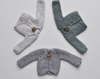 Knitted gray cardigan for Blythe doll, doll clothes, kniyying clothes for custom doll, outfit, set, accesories, jamper, jacket