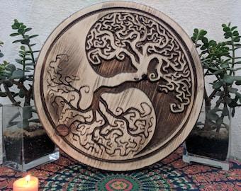 Yin Yang Tree of Life, Wood Yin Yang, Wall Art