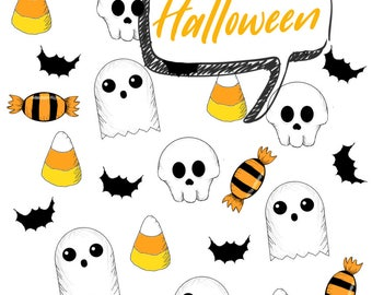 26 Halloween Planner Stickers perfect for all planners, journals, school folders, and more! Super cute and kawaii