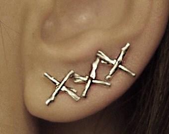X Branch Earring stud organic shape sterling silver 925 handmade