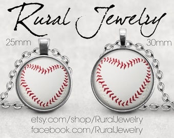 Baseball Heart Necklace, Baseball Mom Gifts, Baseball Coach Gift, Baseball Pendant Jewelry, Baseball Necklace, Baseball Mom, Rural Jewelry