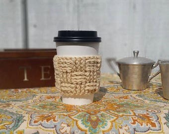 Vanilla Latte Basketweave Crochet Cup Sleeve - Everyday Cup Sleeve Neutrals