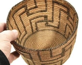 "Vintage Pima Papago Indian Basket Fret Pattern 6"" Wide"