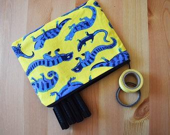 Yellow & Blue Lizard Print Pencil Case / Pouch