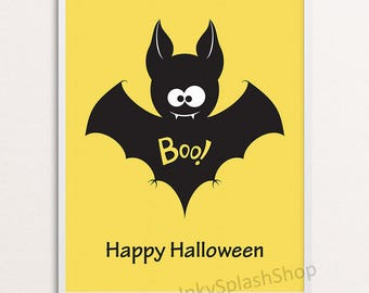 halloween home decor happy halloween wall art printable funny bat print boo poster - Halloween Wall Decorations