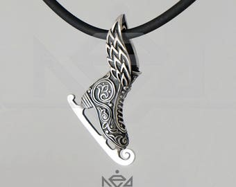 New winged Figure Skate pendant sterling silver