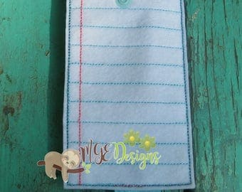 Paper Themed Pencil Pouch Machine Embroidery Design for 5x7 and 6x10 Digital Download Instant Download Back to School, Planner, Organizer