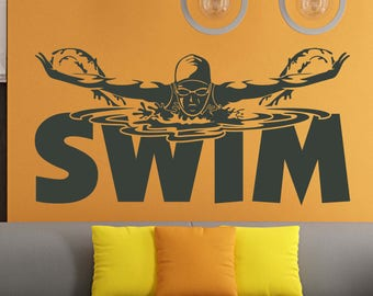 Swimming Pool Signs Swimmer Gift Sports Wall Decals Stickers Swimming Wall  Decal Sports Decor For Girls