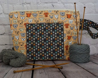 Dogs and Paws Project bag, Sipper knitting project bag, Crochet project bag, Dog project bag