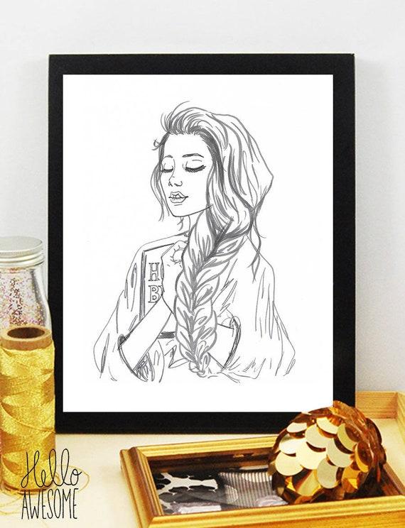 Adoration Modest Fashion Illustration 5x7 Print