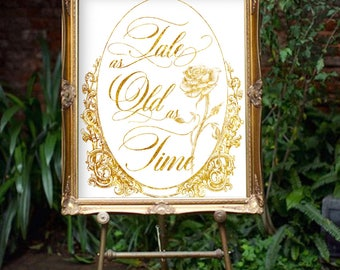 Disney Wedding Reception Sign , Tale as Old as Time Wedding Welcome Sign, Beauty and Beast Wedding Welcome Decor Card , Fairytale Wedding