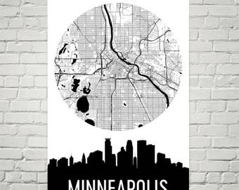 Minneapolis Skyline, Minneapolis Map, Minneapolis Skyline Art, Minneapolis Canvas Art, Minneapolis City Map, Minneapolis MN, Minnesota