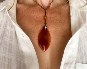 lucious peach agate and pearls