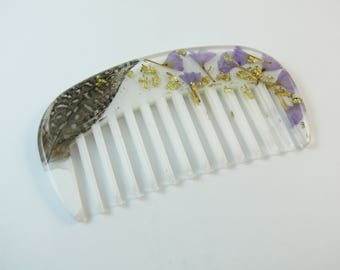 Dried flower resin purse comb with guineafowl feather and gold leaf flakes