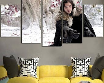 5 Panels Game of Thrones Jon Snow Winter is Coming Canvas Art Multi Grouped Art Work asoiaf GOT