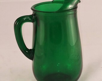 Mid-Century Emerald Green Glass Pitcher