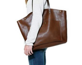 Brown leather bag, leather tote bag, leather shoulder bag, leather basket bag, leather carry all, oversize tote,laptop carryall, market tote