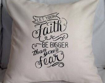 "Ivory Twill ""Faith"" Pillow Cover"
