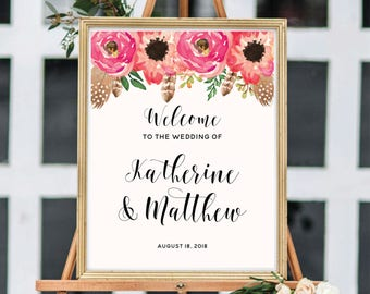 Wedding Welcome Sign, Floral Wedding Welcome Sign Printable, Watercolor Boho Chic, Rush Turnaround ,#BC001
