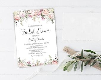 Watercolor Bridal Shower invitation, Bridal shower invitation, Rustic bridal shower invitation, Floral Bridal Shower - US_BI1703