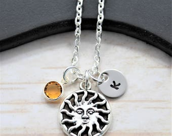 Personalized Silver Sun Necklace - Sun Jewelry - Sun Shaped Necklace - Girl Sun Charm Necklace - Flaming Sun Necklace - Sun Face Jewelry