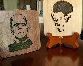 Frankenstein and Bride Hand Cut Wooden Deskorations