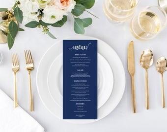 Navy Wedding Menu Card - Printable Wedding Menu - DIY menu card - Wedding Menu Template - Wedding Decor - Downloadable wedding #WDH812302