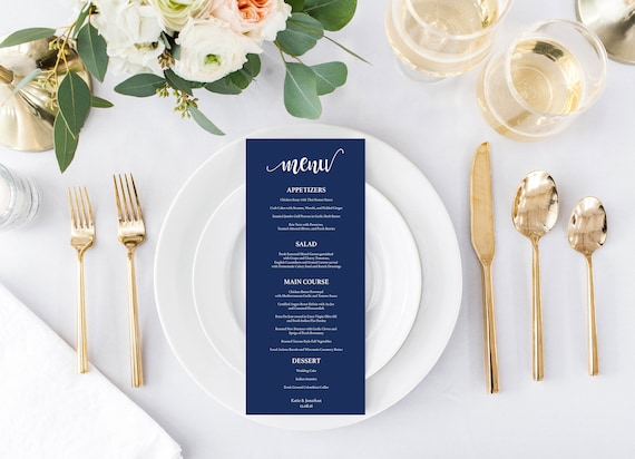 Printable Wedding Menu Template