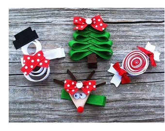Lot 7 cm Christmas and new year baby and girl hair clips